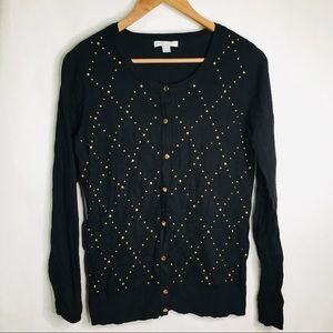 New York & Co black and gold studded cardigan